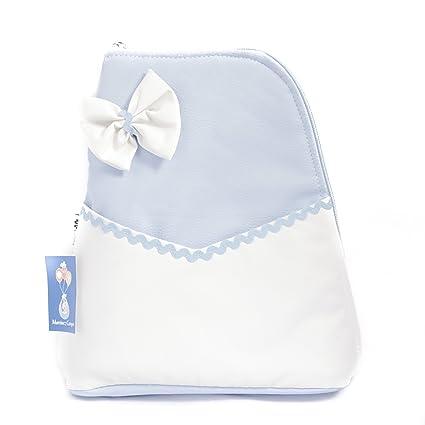 Mochila bolso carrito bebe Polipiel - Color celeste-blanco