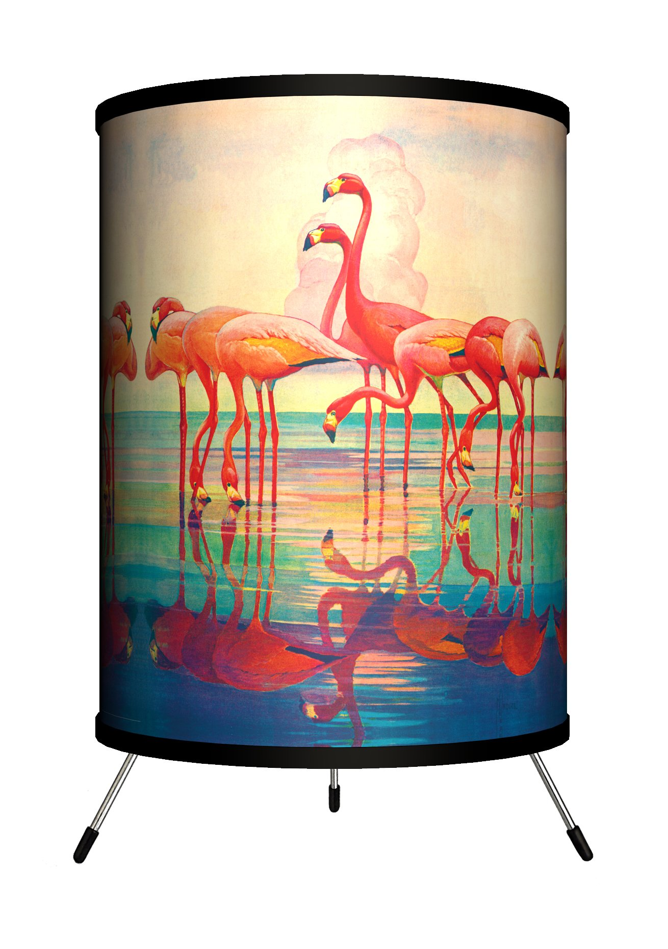 Lamp-In-A-Box TRI-SEP-PINKF Saturday Evening Post - Pink Flamingos Tripod Lamp, 14'' x 8'' x 8''