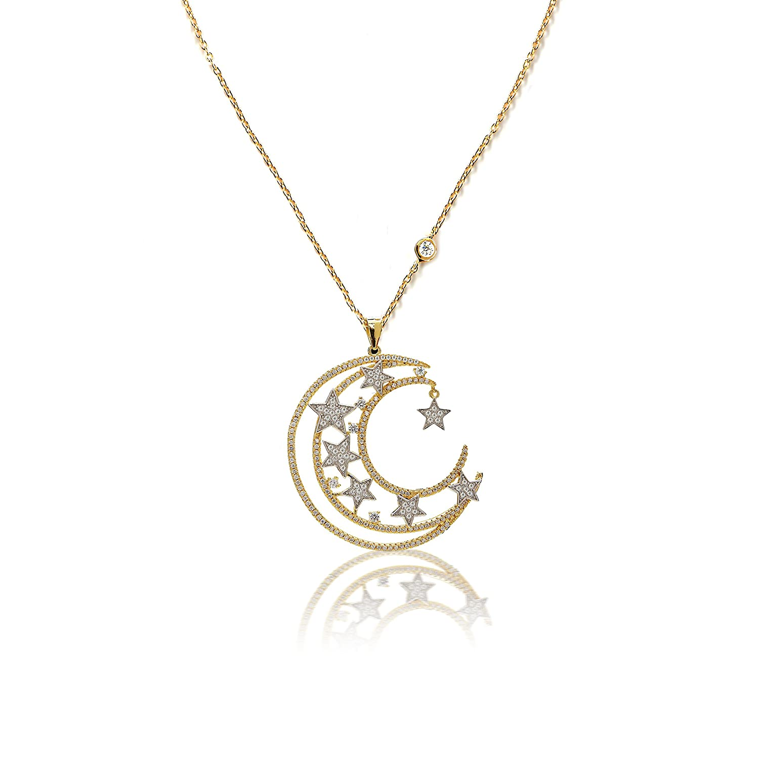Joy and Rachel Gold Plated 925 Sterling Silver Round CZ Glaxy Collection Moon And Star Pendant Necklace
