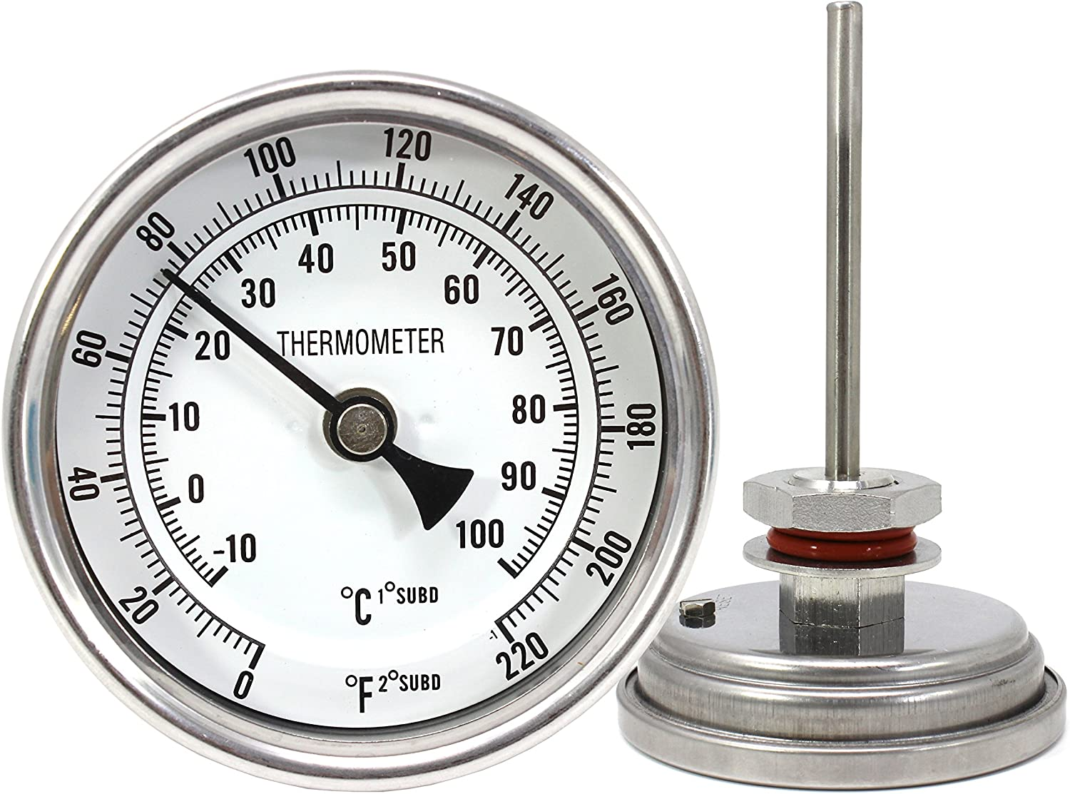"CONCORD 3"" Stainless Steel Thermometer with Mounting Assembly. Great for Home Brewing"
