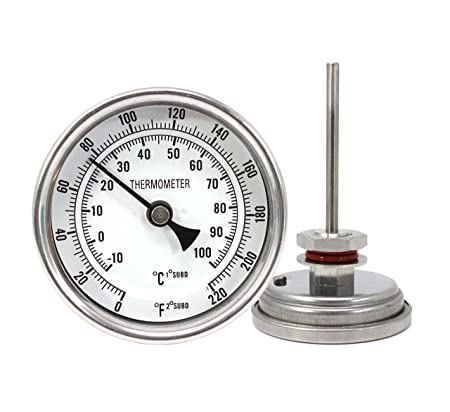 CONCORD 3 Stainless Steel Thermometer with Mounting Assembly. Great for Home Brewing