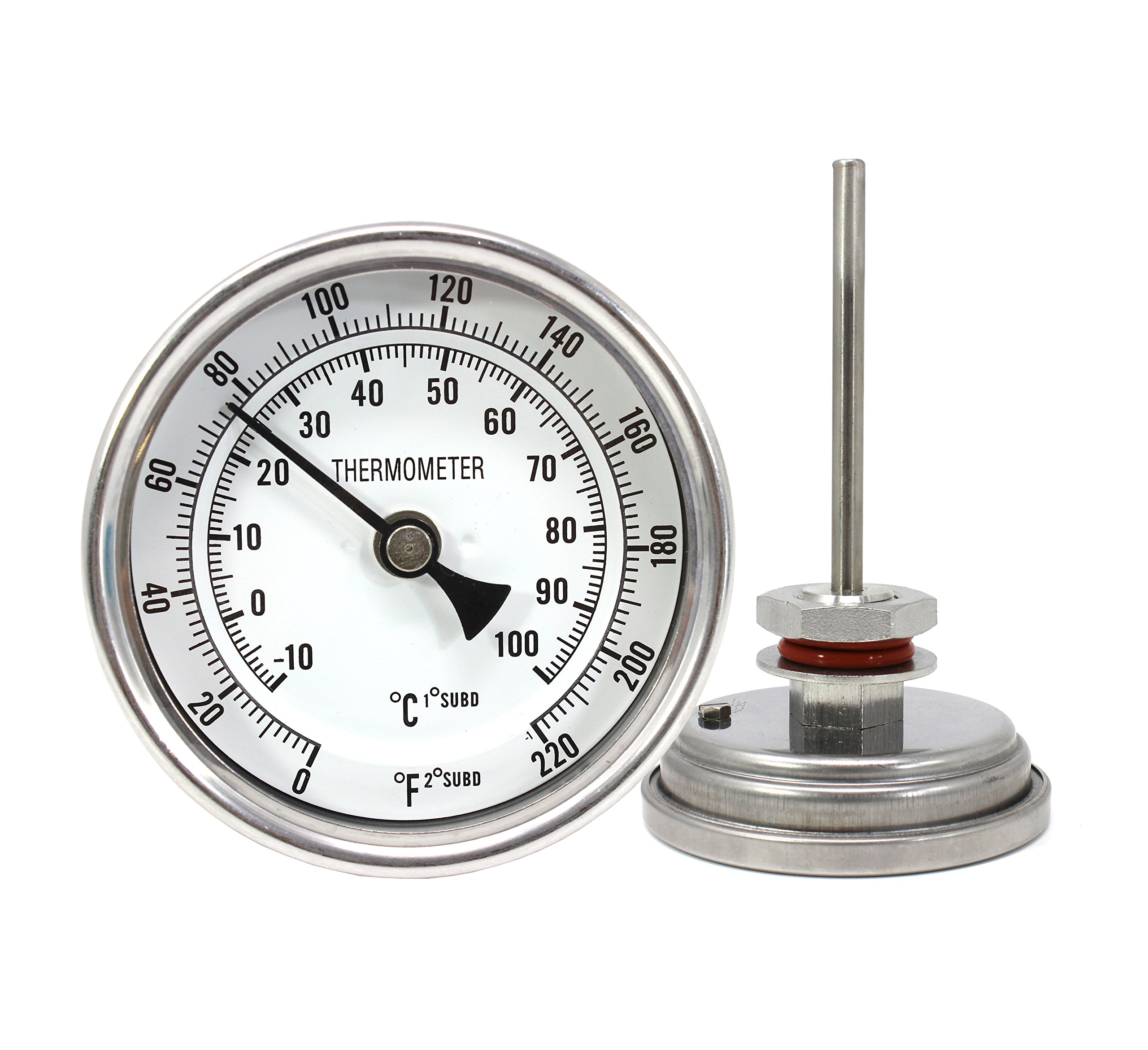 CONCORD 3'' Stainless Steel Thermometer with Mounting Assembly. Great for Home Brewing