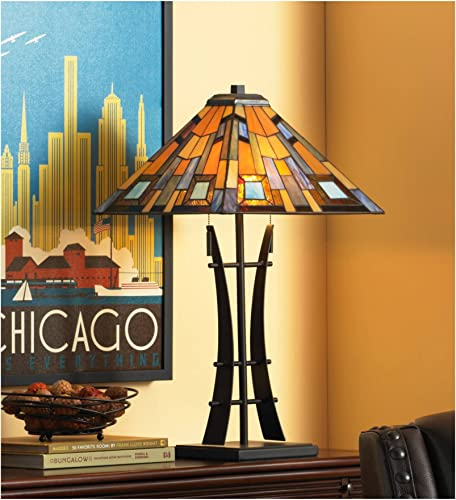 Jewel Tone Mission Table Lamp Iron Bronze Geometric Antique Stained Glass Art Shade for Living Room Family Bedroom Bedside – Robert Louis Tiffany