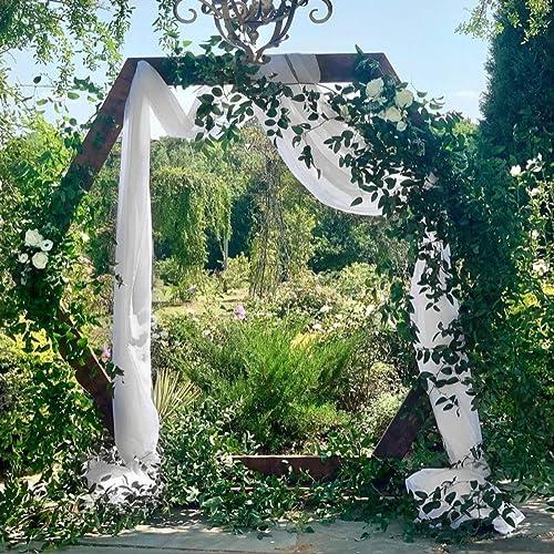 Chiffon Wedding Arch Drapes Backdrop Curtain 2 Piece Chiffon Fabric Drapery 6 Yards Party Wedding Decoration Ivory