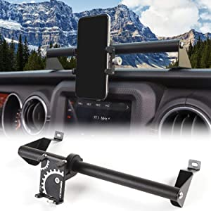 JeCar for JL Dash Phone Holder, Auto Mobile Phone Mount Stand for 2018-2020 Jeep Wrangler JL & Unlimited JLU, for 2020 Jeep Gladiator JT Truck