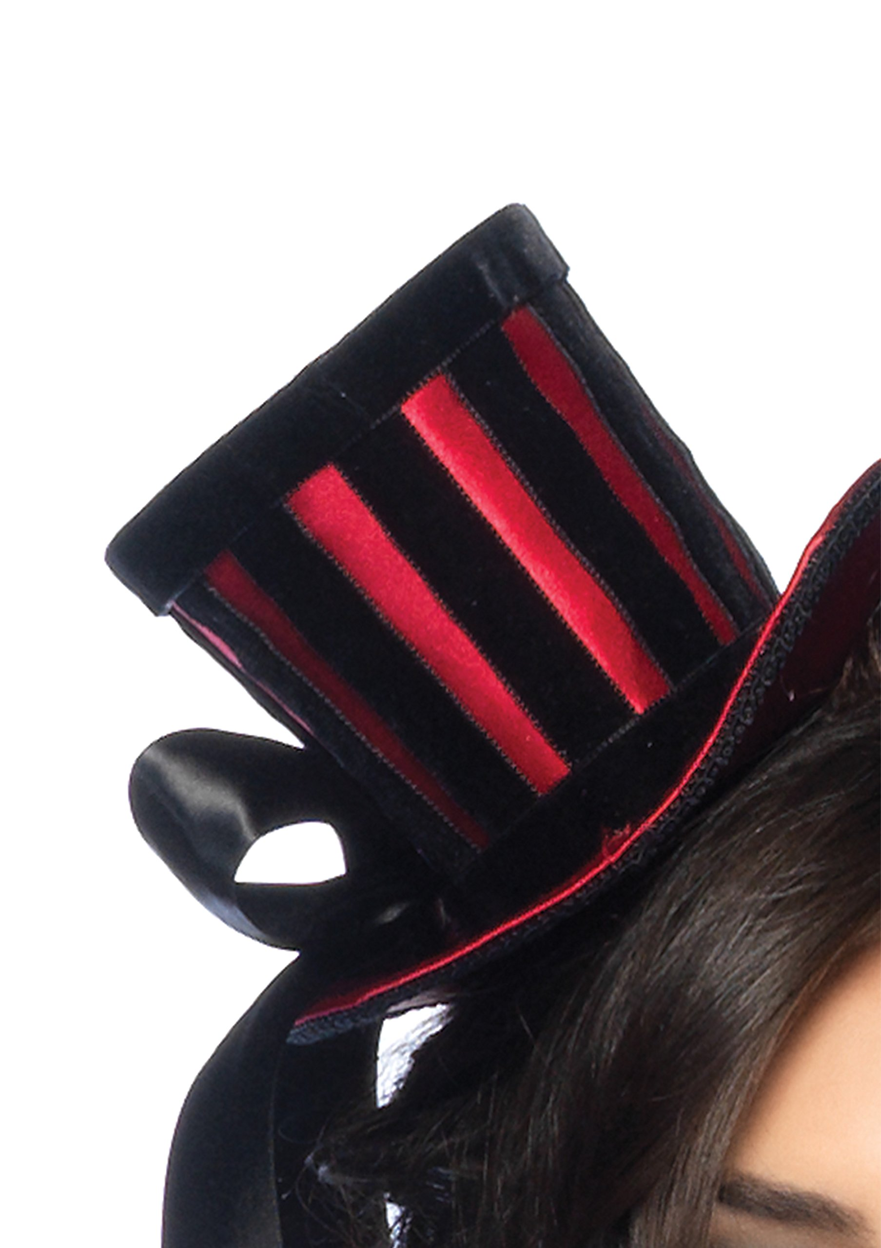 Leg Avenue Satin Top Hat With Stripes And Satin Bow Accent, Red/Black, One Size