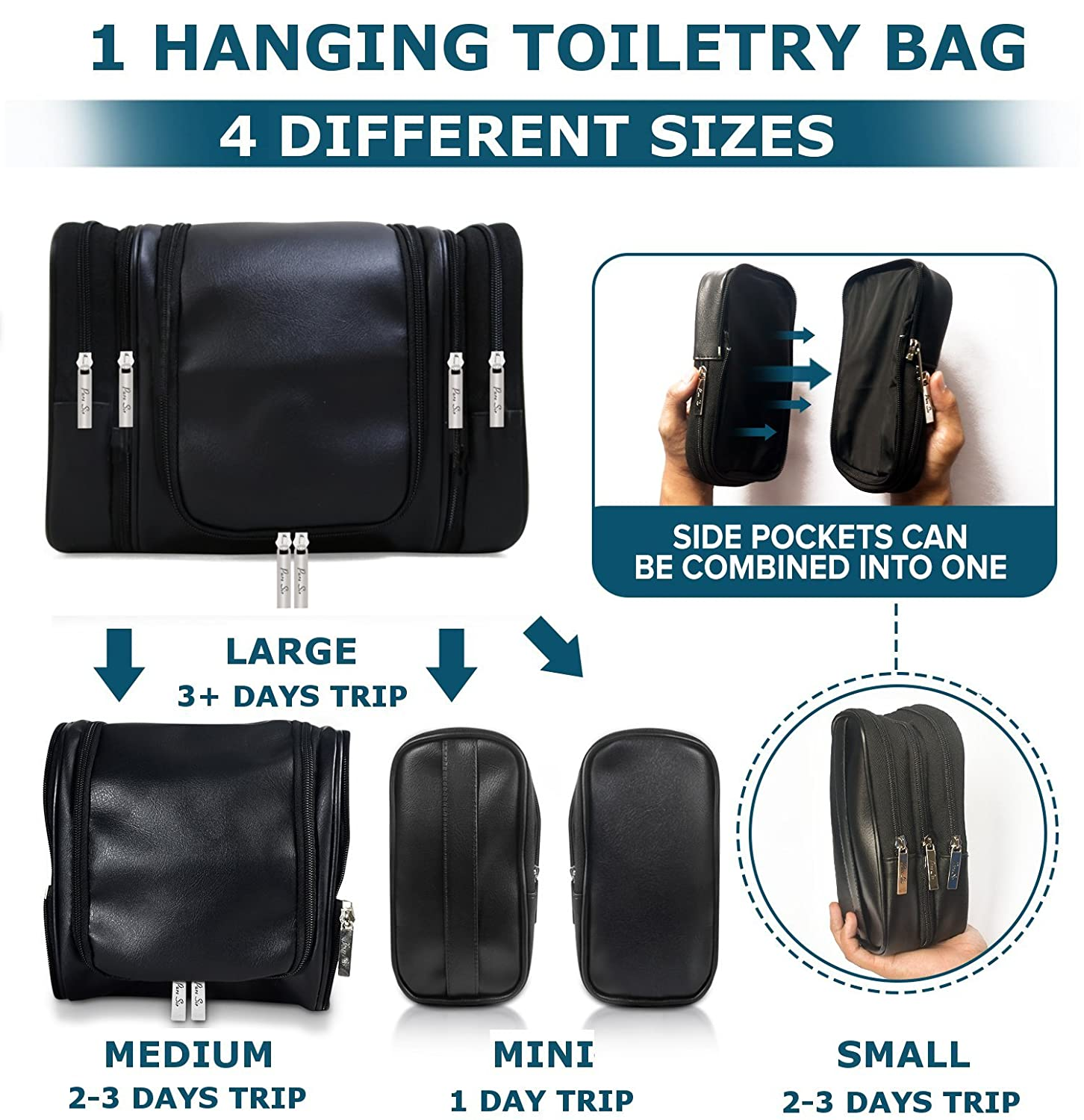 df16b2c5fe73 Amazon.com   Leather Hanging Travel Toiletry Bag for Men for Your Toiletries    Shaving Essentials - 4 Sizes in 1 w TSA Approved Travel Bottles or Mens  ...
