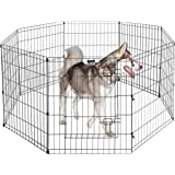 Pet Trex Foldable Metal Pet Exercise Playpen – Indoor/Outdoor Enclosure with Gate for Dogs, Cats or Small Animals