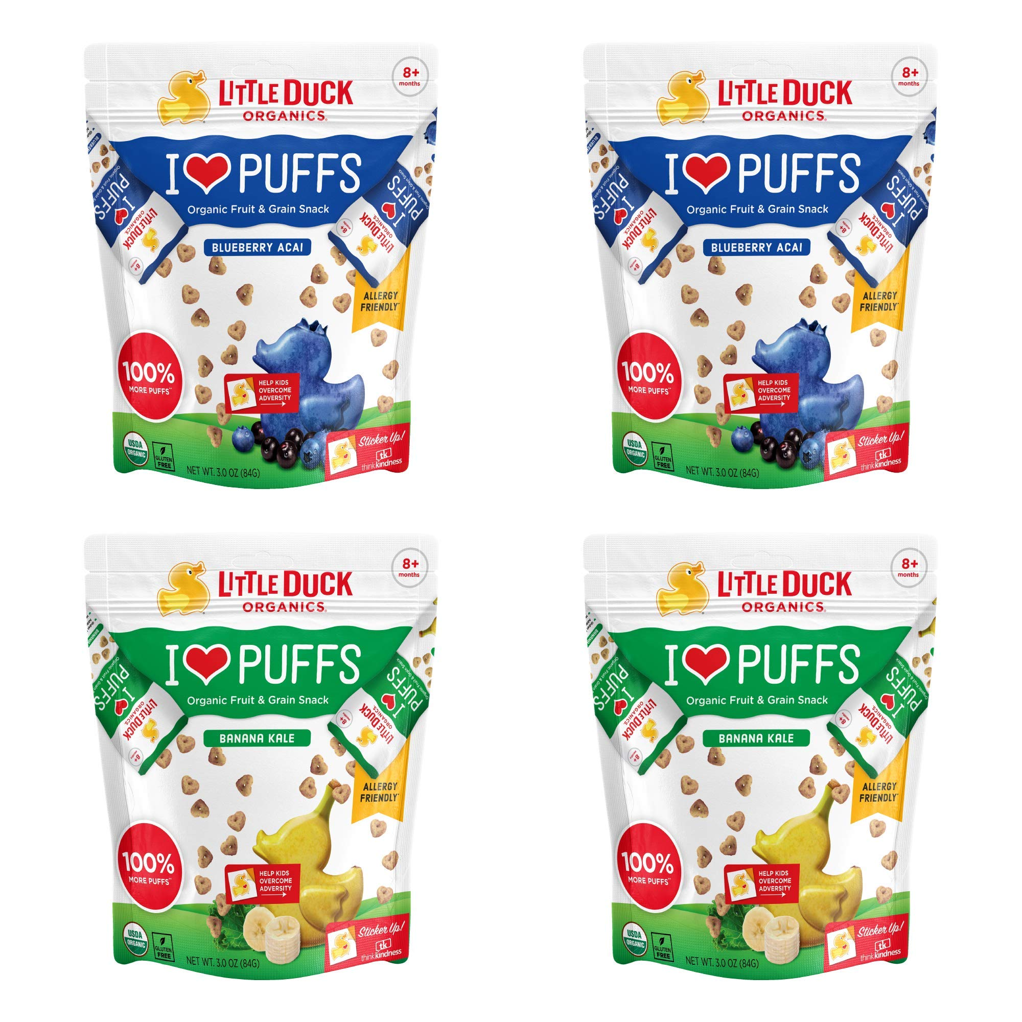 Little Duck Organics I Love Puffs, Fruit & Grain Snack, Variety Pack, 3 Ounce Pouch (Pack of 4) 2 Each: Blueberry/Acai, Banana/Kale by Little Duck Organics