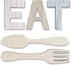 EAT Sign + Fork and Spoon Wall Decor for Kitchen | Rustic Farmhouse Decoration | Large Wooden Letters for Family, Home & Dining Room