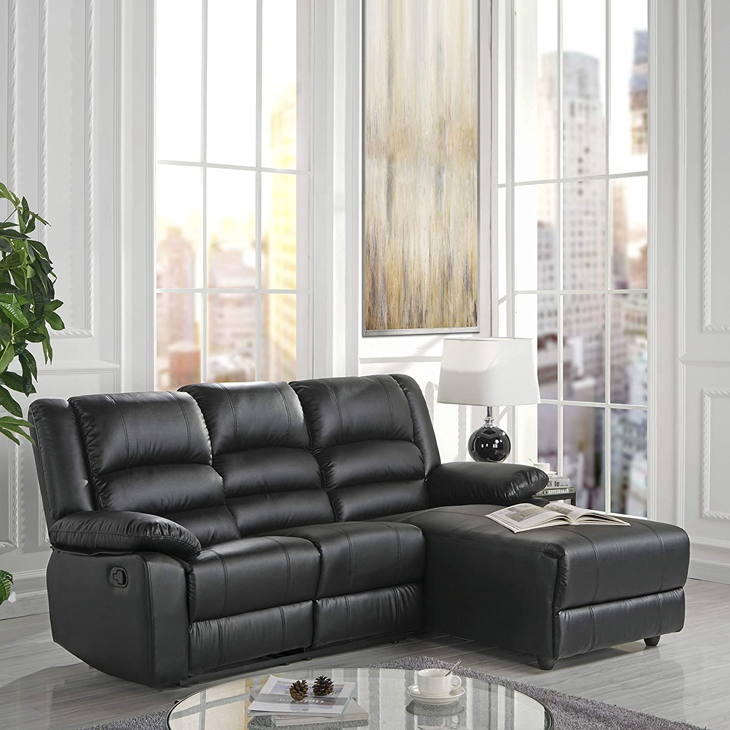 Amazon.com: Case Andrea Milano Bonded Leather Sectional Sofa with ...