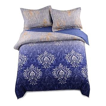 3d Druck Bettwasche Set 3 Teilig Polyester Baumwolle Stoff Blau Und
