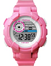 Girls Watch Kids Digital Sports 7-Color Flashing Light Waterproof 100FT Alarm Gifts for Girls Age for 7-10 (Pink)