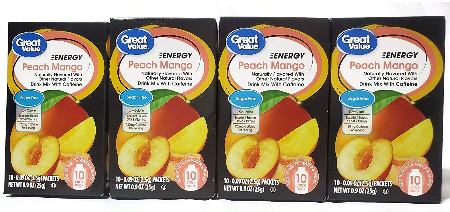 Great Value Sugar Free, Low Calorie ENERGY Peach Mango Drink Mix (Pack of 4)