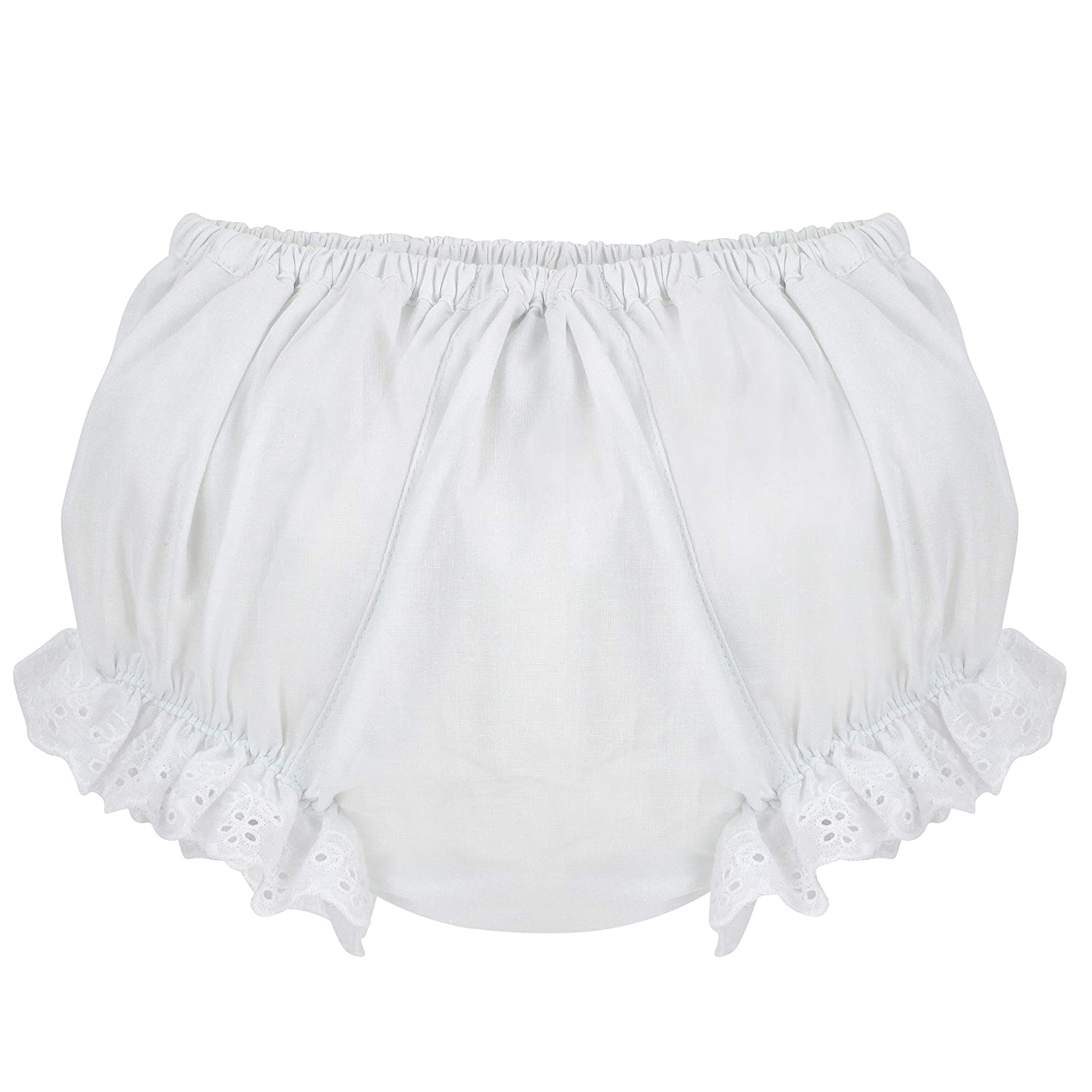 Ruffled White Flowers Carriage Boutique Baby Girls Cotton Panty Diaper Covers
