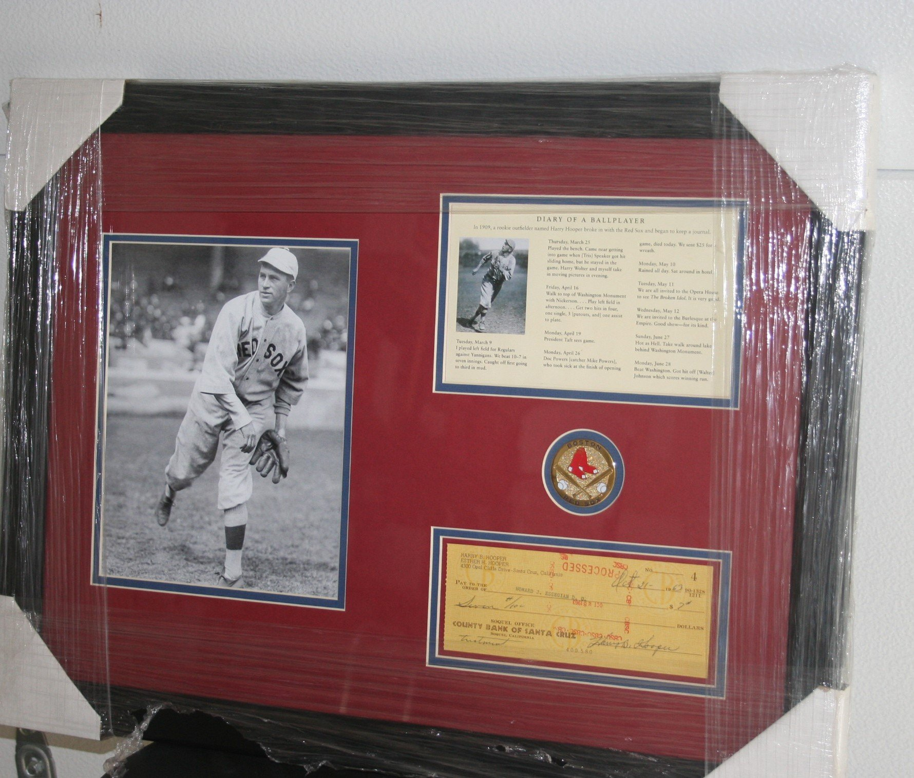 HARRY HOOPER PERSONAL CHECK WITH FRAMED 8X10 PHOTOGRAPH ONE OF KIND