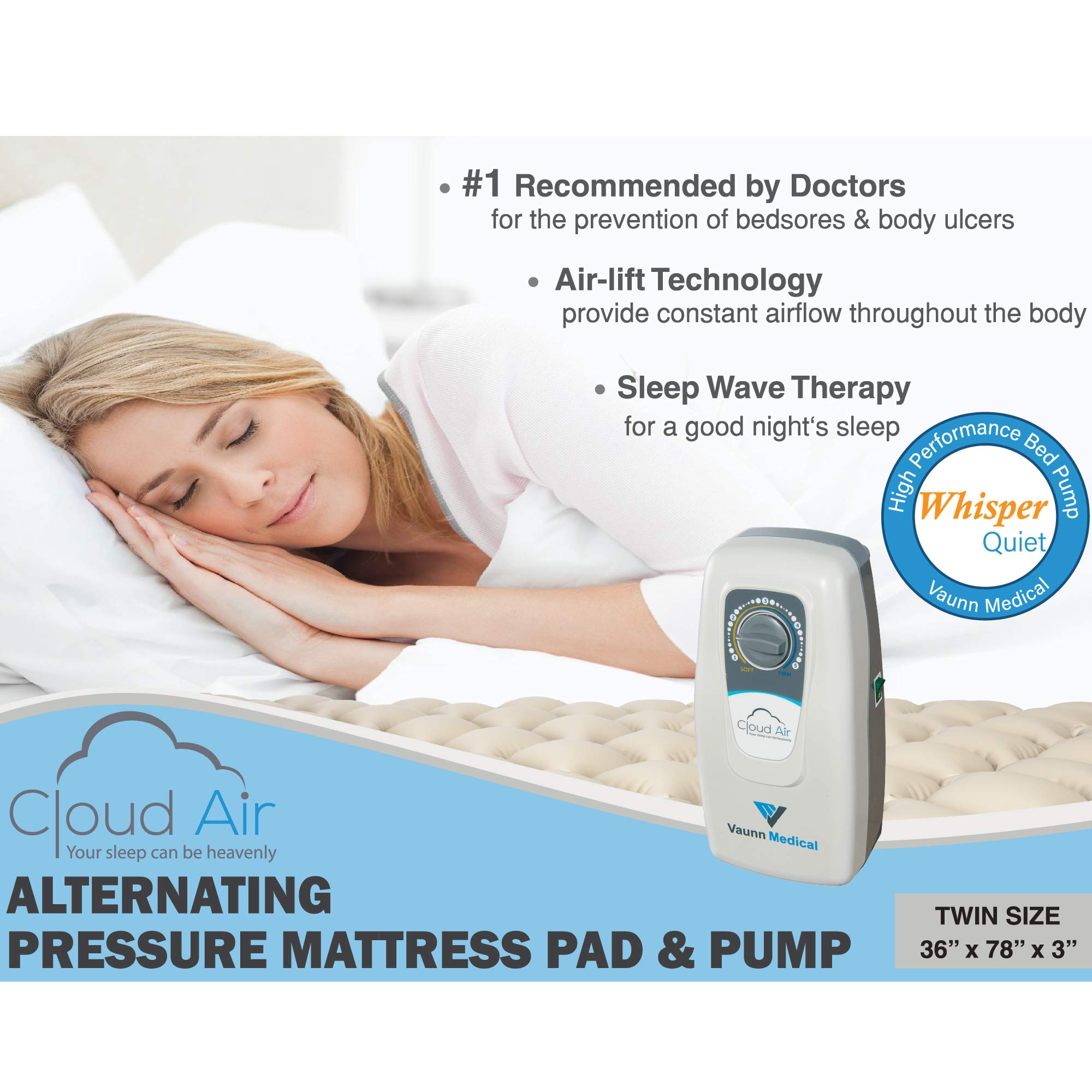 Amazon.com: Vaunn Medical Cloud Air Whisper Quiet Alternating Air Pressure Mattress Topper with Pump (2018 Upgraded Model) Twin Size 36