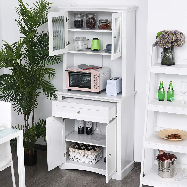 Adjustable Shelving Black HOMCOM Traditional Freestanding Kitchen Pantry Cabinet Cupboard with Doors
