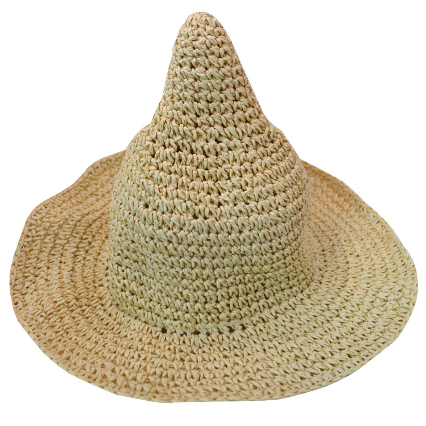 Monique Kids Cute Spire Witch Straw Sun Hat Wide Brim Sun Visor Cap for Beach Party Travel