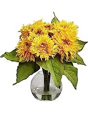 Nearly Natural 4906 Golden Sunflower Flower Arrangement, Yellow