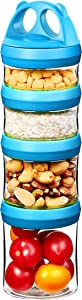 SELEWARE Baby Food Containers Snack Containers for Toddlers Adults, Portable Stackable Twist Lock Food Storage Jars for Protein Formula, Snacks, Nuts, Drinks, BPA Phthalate Free, Blue