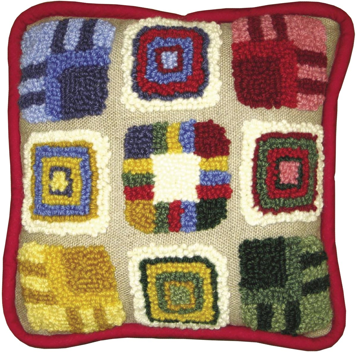MCG Textiles Patchwork Pillow Rug Yarn Punch Needle Kit by MCG Textiles