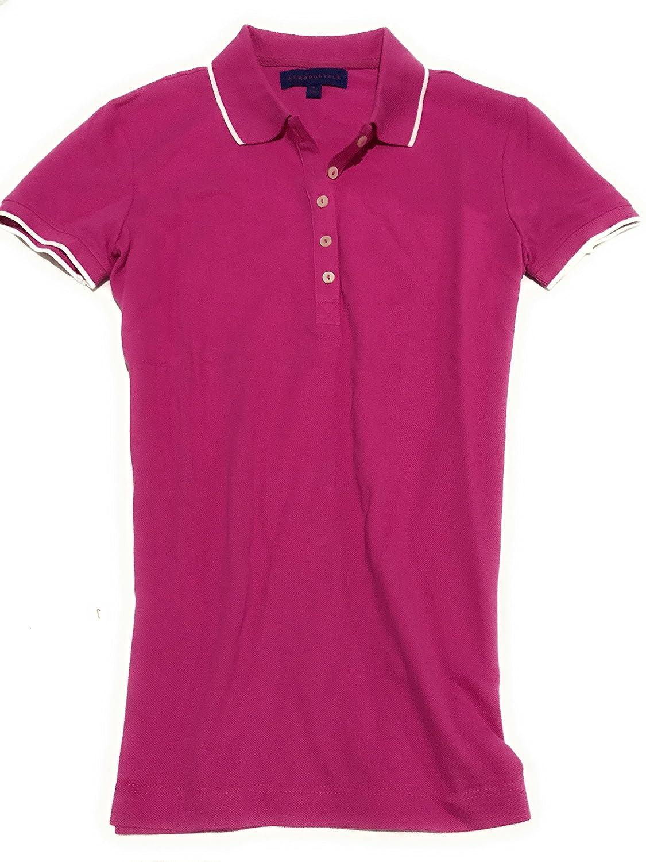 Aeropostale Women's Tipped Polo Shirt Plain No Logo Style 1093
