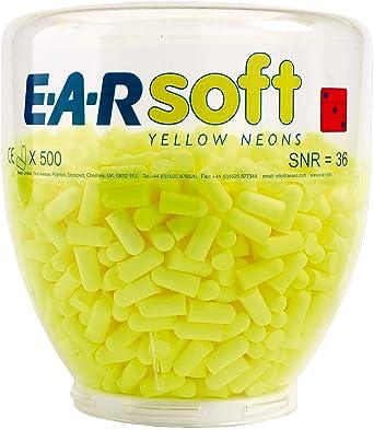 3M E-A-Rsoft Botella para dispensador de tapones desechables Amarillo NEÓN 36 dB (500