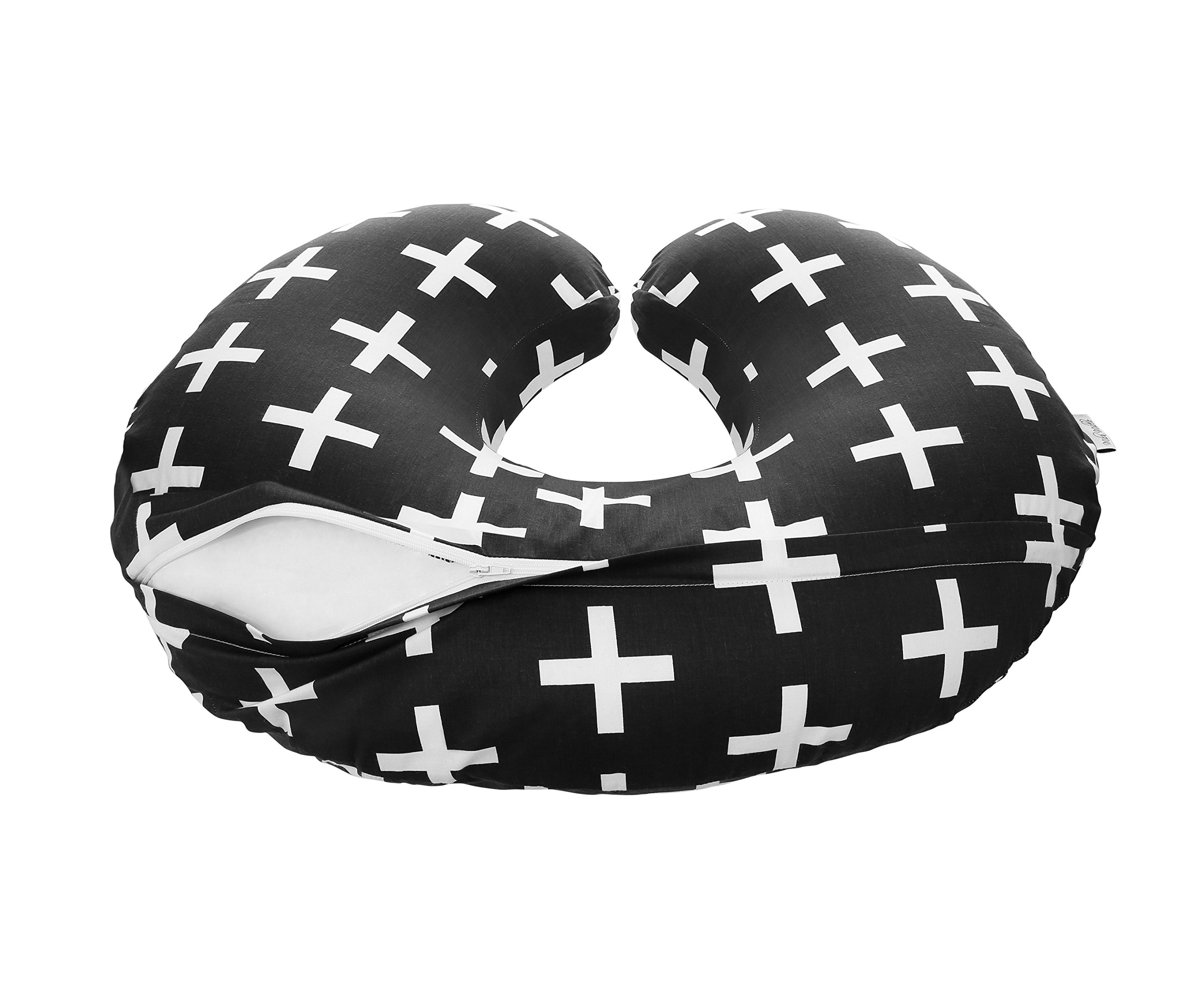 Premium Quality Nursing Pillow Cover by Mila Millie - Nordic Swiss White Cross Unisex Design Slipcover - 100% Cotton Hypoallergenic - Perfect for Breastfeeding Mothers - Baby Shower Gift by Mila Millie (Image #3)