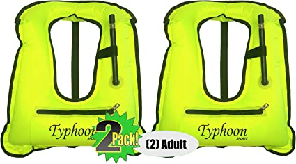 SNORKEL VEST X-Large Adult Typhoon Sports 180lbs /& up High VIZ Yellow Inflatable