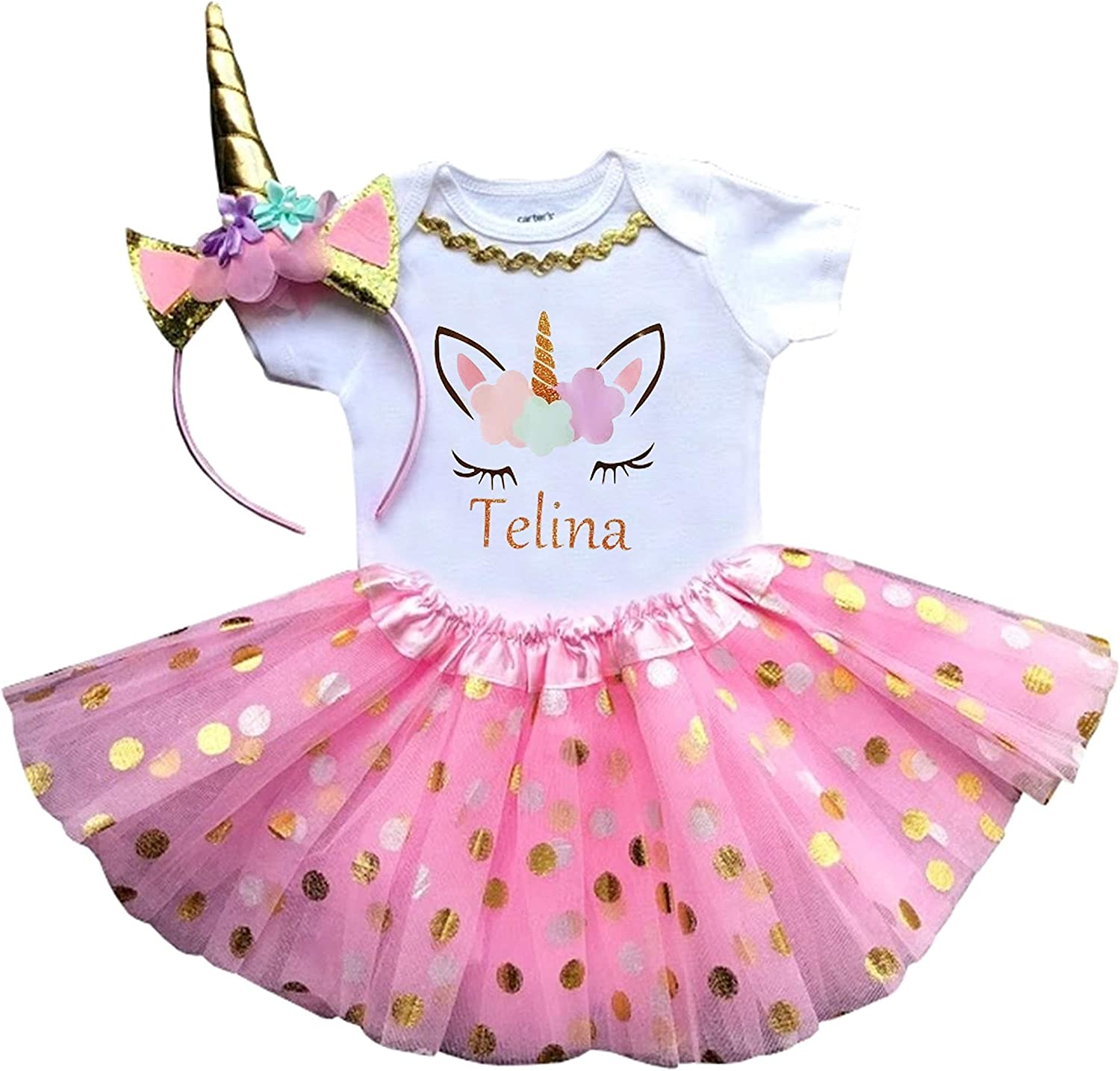 1st Birthday Girl Unicorn Pink and Gold Outfit Personalized 812yggszpfL