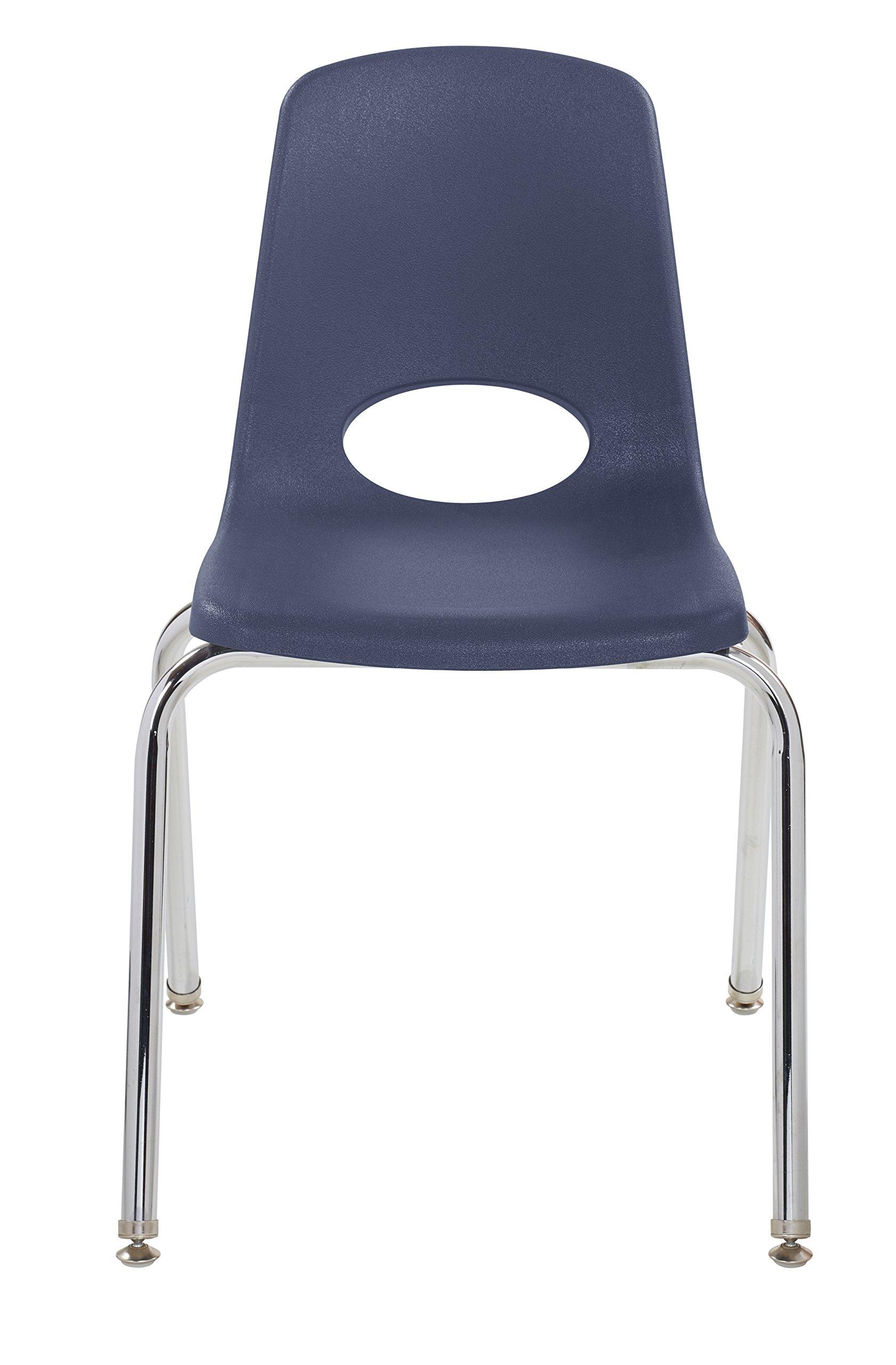 ECR4Kids 18'' School Stack Chair, Chrome Legs with Nylon Swivel Glides, Navy (5-Pack) by ECR4Kids (Image #4)