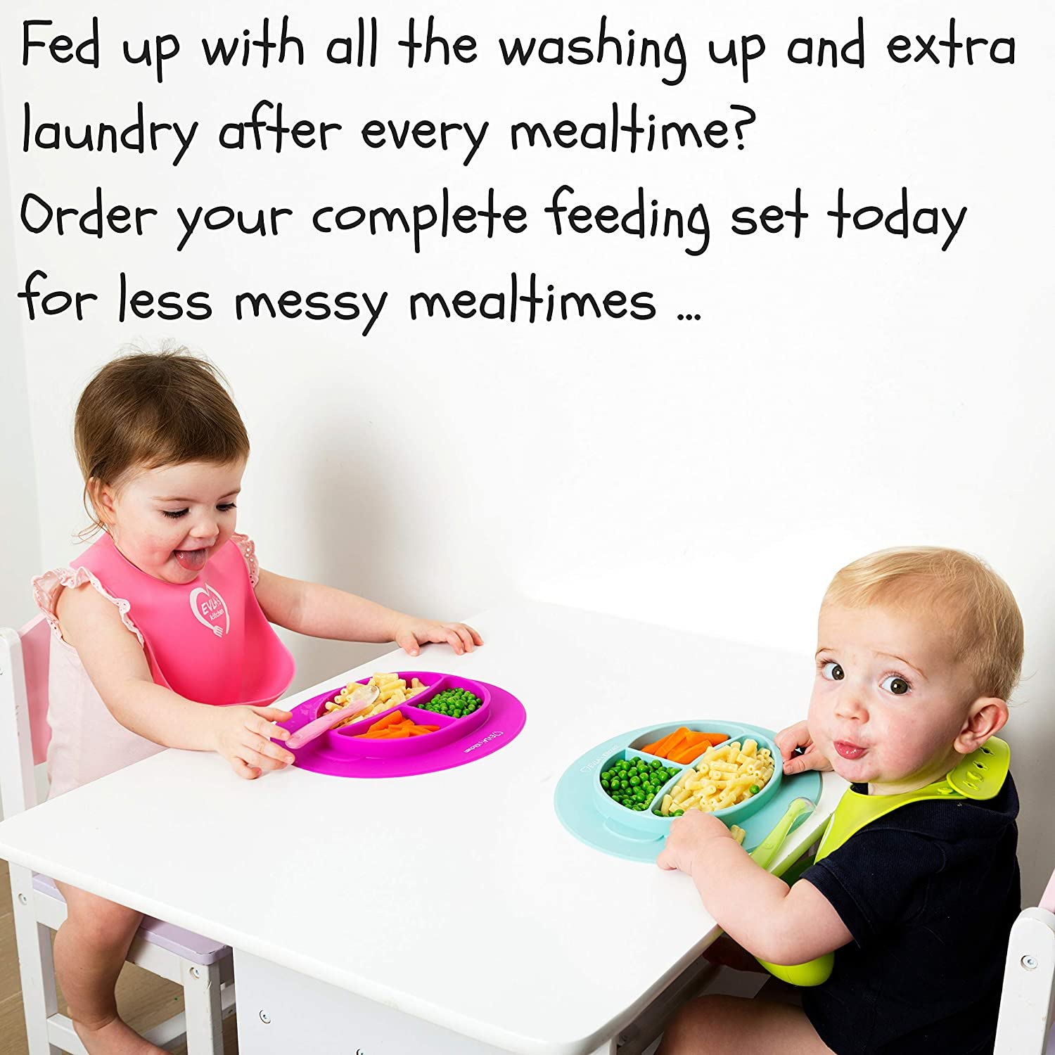Suction Bowl /& Plate Stay On Table Baby Bowls Baby Plates Less Mess /& Easy Clean | LFGB Approved Silicone Weaning Spoons Complete Baby Feeding Set Dishwasher Safe Baby Weaning Bibs