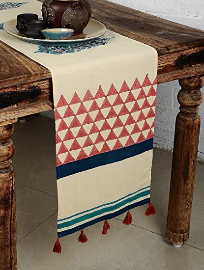 MYYRA Cotton Hand Block Printed Table Runner (250 x 30 cm, White)