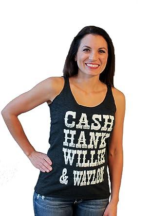 Cash Hank Willie & Waylon by Tough Little Lady Womens Graphic Print Tank  Shirt-Cotton