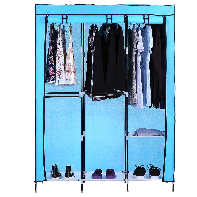 Homdox Portable Wardrobe Storage Closet Non-Woven Free Standing Garment Organizer Double Rod Storage Organizer (Blue)