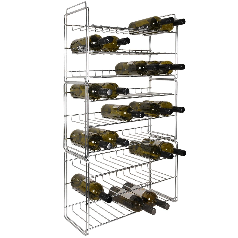Étagère à vin empilable en métal kit de 3 étagère á H35 x L56 x P21 cm