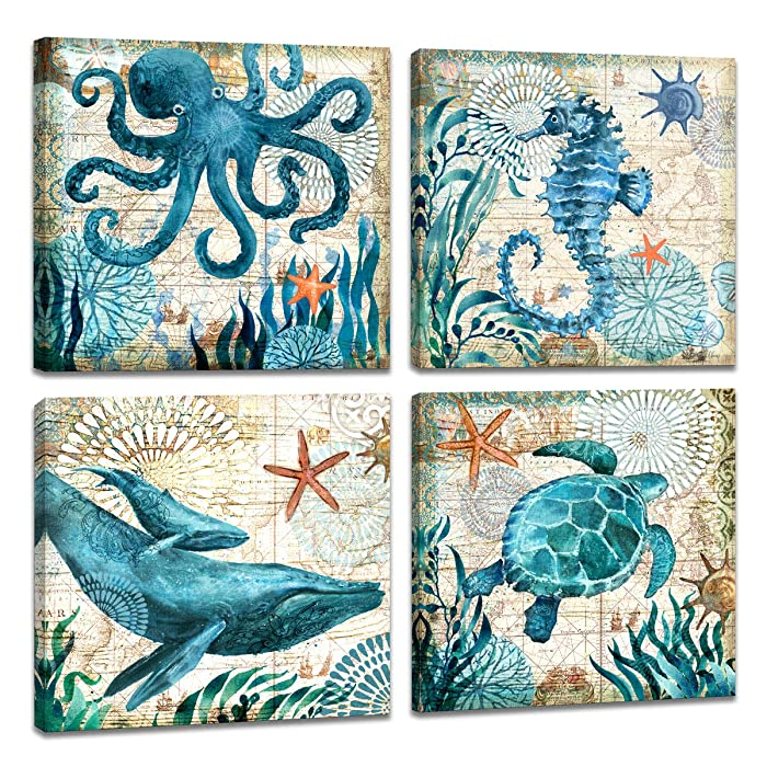 """4 Piece Canvas Wall Art Home Wall Decor Art Ocean Watercolor Sea World Animal Home Sea Turtle Seahorse Whale Octopus Pictures Modern Artwork Stretched and Framed Ready to Hang Size:12""""x12""""x4 Panels"""