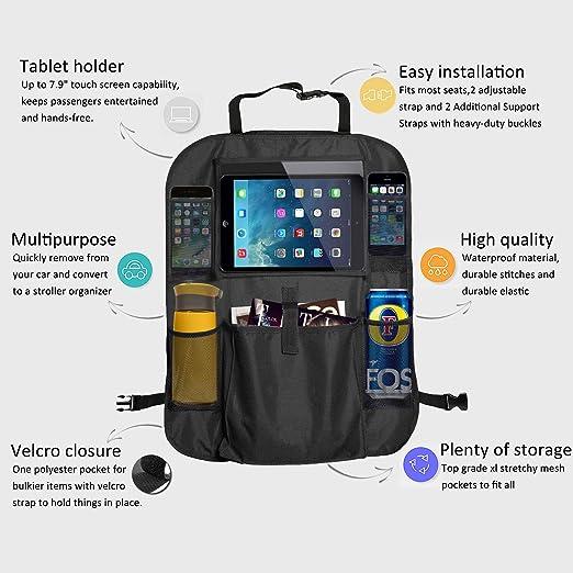 MINLUK Protecdor de Asiento Organizador para coche Impermeable bolsillo de la pantalla t/áctil para tablet Funda para Asiento F/ácil de limpiar Negro