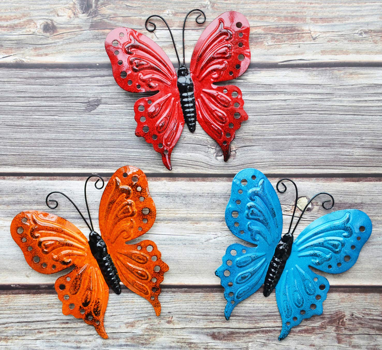 ShabbyDecor Metal Butterfly Hanging Decoration for Indoor or Outdoor Set of 3