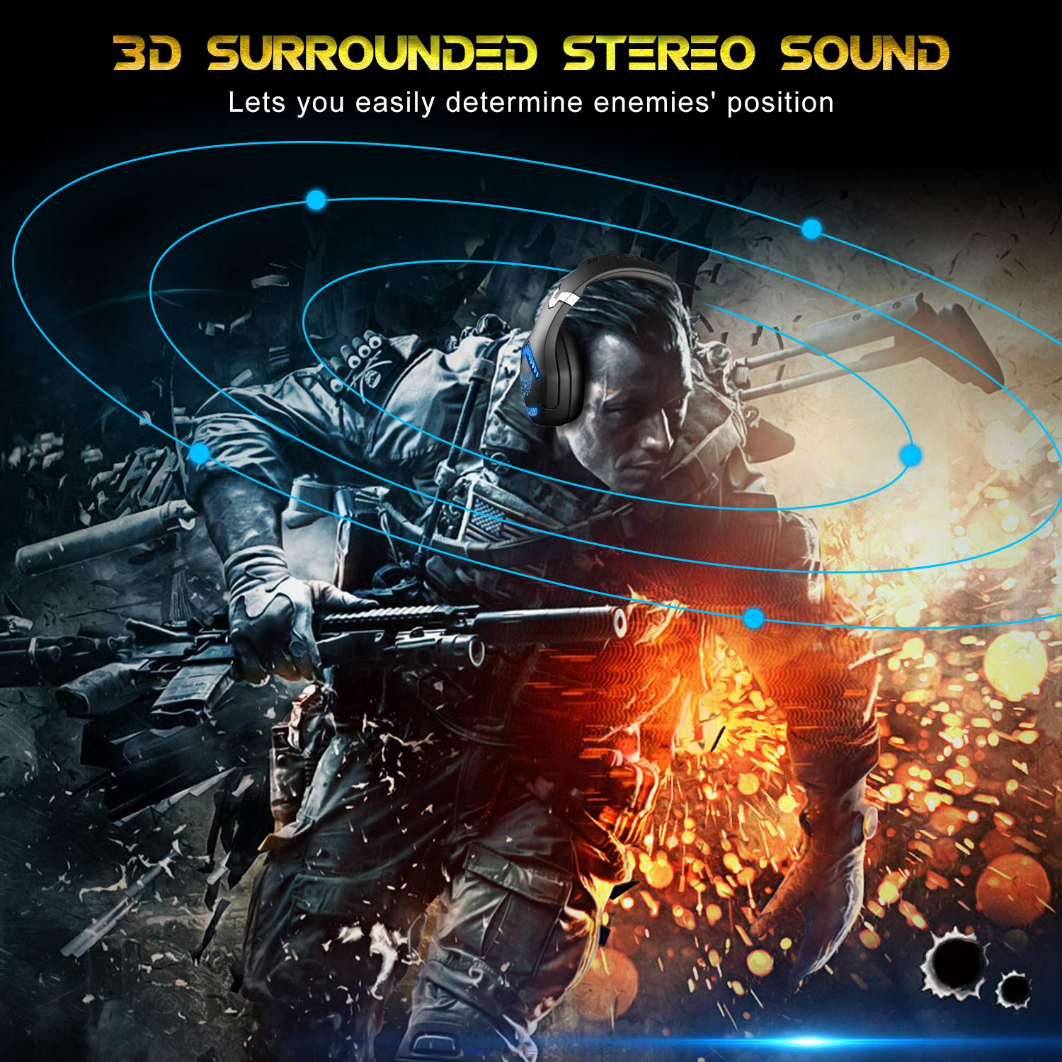 Stereo Gaming Headset, DIOWING,【Upgraded 7.1 Bass Surround Sound】Over Ear Headphones with Mic for PS4, PC, Xbox One Controller, LED Light, Soft Memory Earmuffs for Laptop Mac Nintendo Switch Games by DIOWING (Image #2)