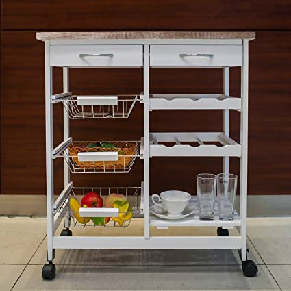 Amazon Com Kitchen Storage Cart Island Rolling On Wheels With