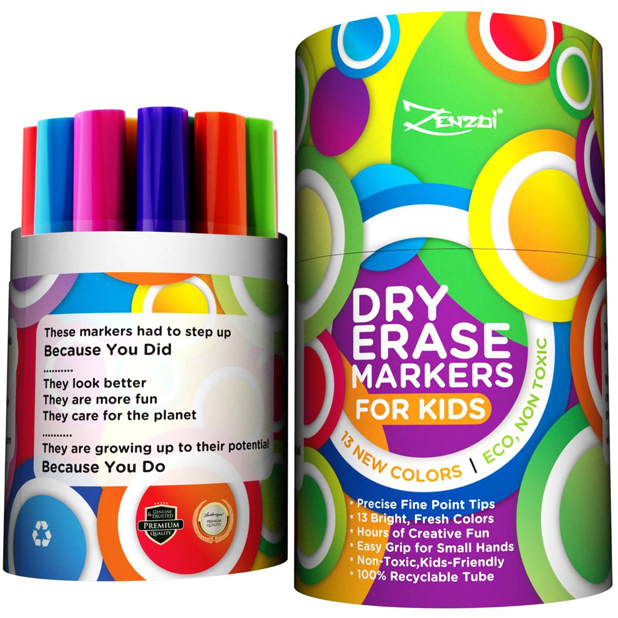 Dry Erase Markers for Kids Whiteboard Erasable Marker Pens Set Fine Tip Point - Eco Pen Pack with 13 Unique, Bright Colors -You Get FREE Gift eBook- For White Board Calendar Children School Supplies