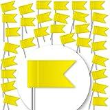 30 Stück Markierungsfahnen - GELB - Markierungsfähnchen für Pinnwand & Weltkarten-Landkarten