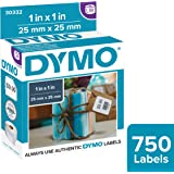 "DYMO Authentic LW Multi-Purpose Square Labels | DYMO Labels for LabelWriter Printers, Great for Barcodes, (1"" x 1""), 1 Roll of 750"