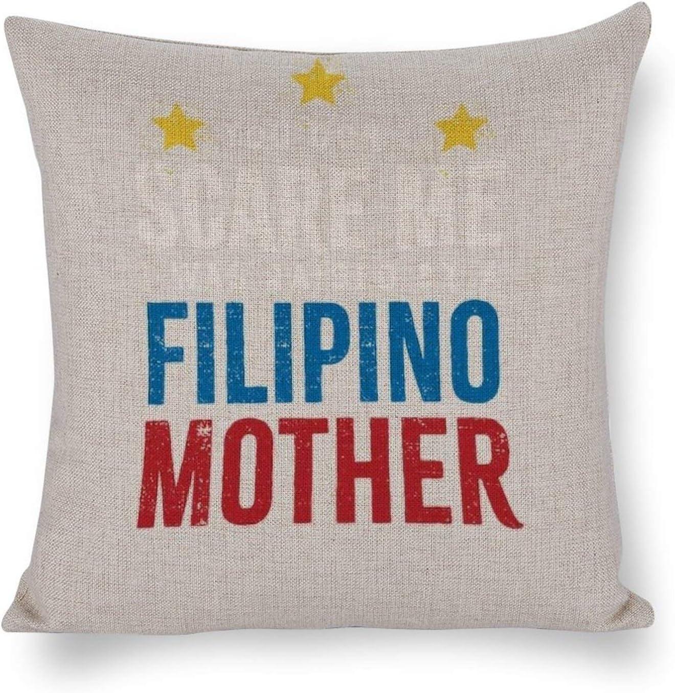 Filipino Pride Design Filipino Mom Idea,Cotton Linen CushionCozy Throw Pillow Covers,Decorative Cotton Linen Square Cushion Case for Couch Sofa Bedroom Pillowcases 18x18 Inch 40x40 cm