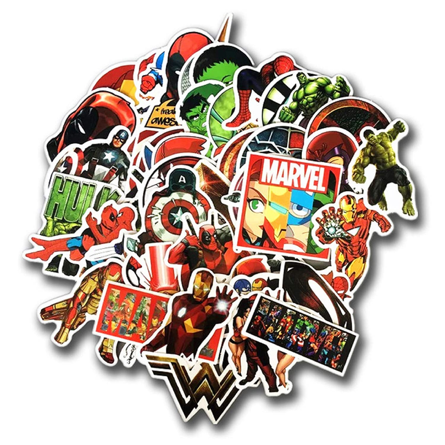 New 50 pcs lot stickers for marvel super hero dc for car laptop notebook decal fridge skateboard batman superman hulk iron man 1 amazon ca electronics