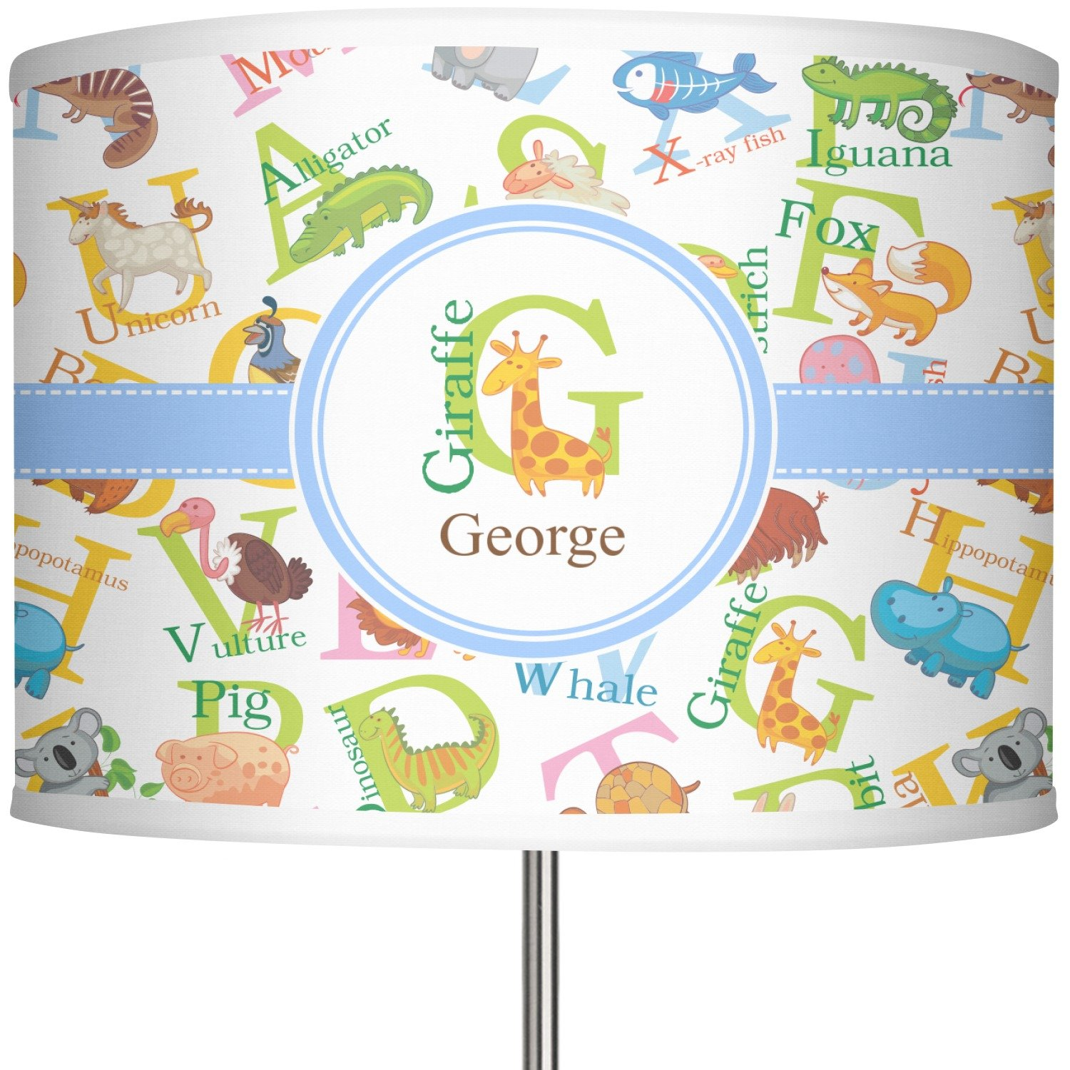 RNK Shops Animal Alphabet 13'' Drum Lamp Shade Linen (Personalized)