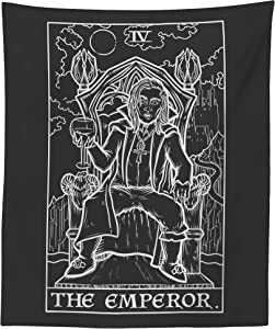 The Emperor Tarot Card Tapestry (Black & White) - Dracula - Gothic Halloween Home Decor Wall Hanging (80