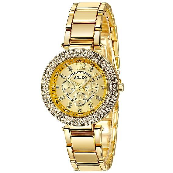 1 pieza 2015 20152015 New Anleo número de casa de imitación Numral Metal para mujer relojes reloj redondo de pie dorado: Amazon.es: Relojes